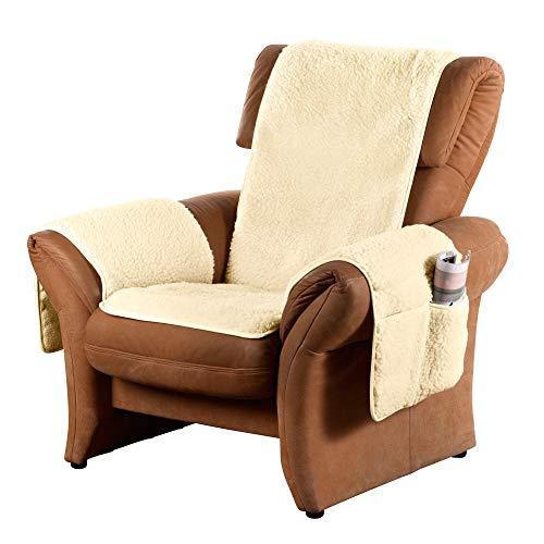 Erwin Müller Sesselschoner mit Armlehnenschoner - mit Seitentaschen - Sesselbezug - Sesselüberwurf - Sesselschutz - Natur - Größe Relaxsessel - Wolle