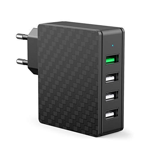 SCHITEC QC 3.0 USB Ladegerät Stecker 33W 4 Ports Quick Charge USB Netzteil für Samsung Galaxy S10/S9/S8+, LG G5/G6, Nexus 5X/6P, HTC 10, iPhone 11/XS/8/7/6, iPad Pro/Air, Huawei usw (Schwarz-QC3.0)