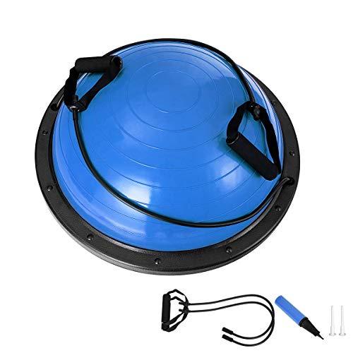 RELAX4LIFE Balance Ball, Yoga Balance, Trainer Ball mit Luftpumpe & Abspannseile, aufblasbarer Balancetrainer für Gleichgewichts- & Krafttraining & Gymnastik, belastbar bis 200 kg, Ø 59 cm (Blau)