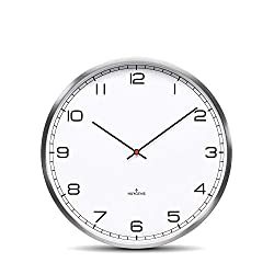 Huygens Silent Analog Wall Clock Round Battery Operated Quartz Movement One25 Stainless Steel White Arabic