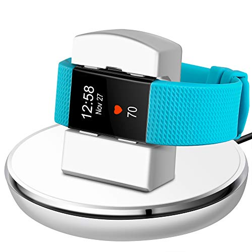 EPULY Compatible with Fitbit Charge 2 Charger, Compatible with Fitbit Charge 2 Charging Accessories Stand Dock Station 3 ft Charging Cable Smart Watch White
