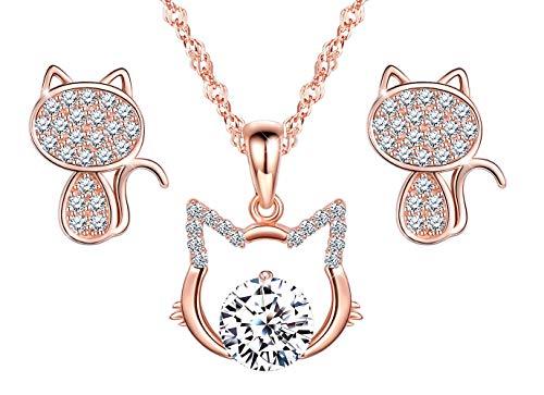 Lindo collar de gato, aretes de gato, joyería de diamantes de plata esterlina 925 para niñas, conjuntos de joyas, regalo de cumpleaños de Navidad