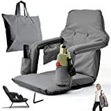 Foldable Reclining Stadium Seat for Bleachers with Folding Legs – New 2020 Patent Pending Premium Model + Free Carry/Storage Bag–High Backrest+Thick Padded Back & Armrest+Water Proof (Gray, X-Large)