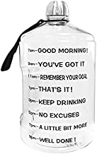 BuildLife 1 Gallon Water Bottle Motivational Fitness Workout with Time Marker/Drink More Daily/Clear BPA Free/Large 128OZ Capacity Throughout The Day(Transparent,1 Gallon)