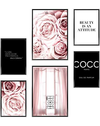 Heimlich® Premium Poster Set OHNE Bilderrahmen   Stilvolles Set mit passenden Bilder als Wohnzimmer Deko   2 x DIN A3 & 4 x DIN A4 - ca. 30x42 & 21x30   » Coco Pink Rosen «