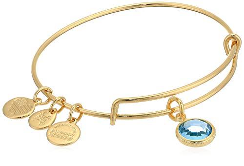 Alex and Ani Damen-Armreif Swarovski-Kristall March Aquamarin glänzend Gold erweiterbar