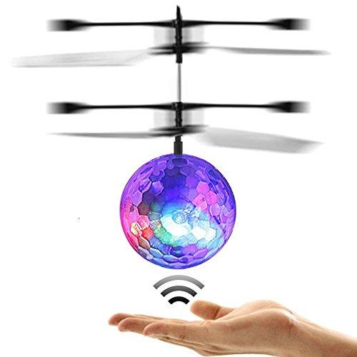 NBODY Mini Flugzeug-Hubschruber, RC Fliegender Ball mit LED Leuchtung, Infrarot Induktionshubschrauber Ball für Kids -Disco Lichter!