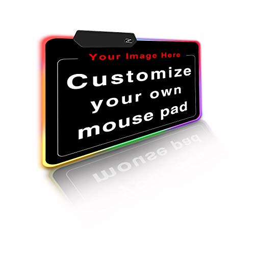 Personalized RGB LED Gaming Mouse Pad Make Your Own Customized Gaming Mousepad Custom Mouse Mat for Office Dorm Personalised Gifts Presents for Gaming Lovers, 13.8x11.8in
