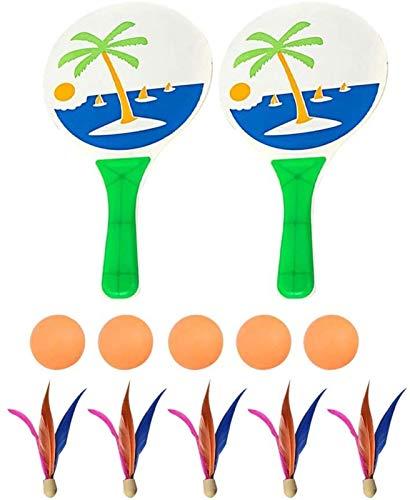 RENFEIYUAN Strand Paddel Ball Spiel Badminton Tennis Pingpong Strand Cricket Holzschläger Paddel Set Outdoor-Schläger Spiel Für Erwachsene Kinder (Farbe Randomisierung) Badminton Sets