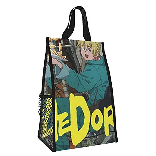 Bolsa de almuerzo Dorohedoro aislada Bento bolsa reutilizable bolsa de comestibles portátil durable bolsa de picnic plegable bolsas de aislamiento de mano bolsa de almuerzo caja de 14 x 7 x 9 pulgadas