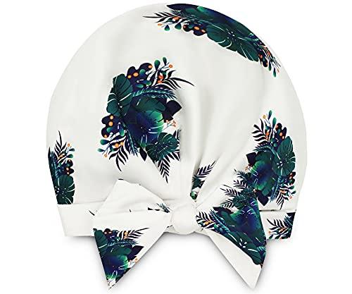 Gorro de ducha para mujer, reutilizables impermeables con forma ajustable, correa de nudo en la frente, dobladillo elástico, tamaño grande para todas las longitudes de cabello (estampado de hojas botánicas)