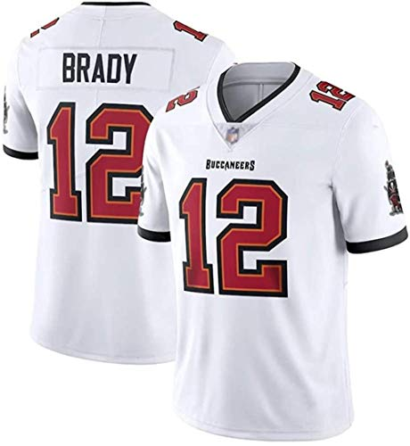 PUCQ Outdoor Rugby-Trikot Tom Brady # 12 Tampa Bay Buccaneers Fußballtrikot Unisex-Sport-Kurzarm-Sweatshirt Fitness Atmungsaktive Stickerei -White_Medium