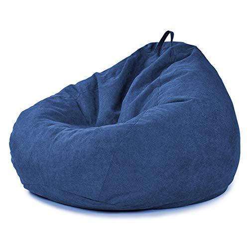 AMGJ Sitzsack Bezug ohne Füllung, Premium Große Riesensitzsack Hülle aus Baumwoll-Leinen Sitzsackhülle Sitzsack Abdeckung für Kinder und Erwachsene,Dark Blue,80x90 cm