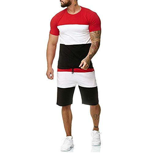 WOCACHI Mens Summer Patchwork 2 Piece Set Tracksuit T-Shirts Hooded Sweatshirt Drawstring Shorts Sweatpants Zipper Sports Suit 2020 Spring Outdoor Workout Fit Novelty Color Block Tees Short Pants