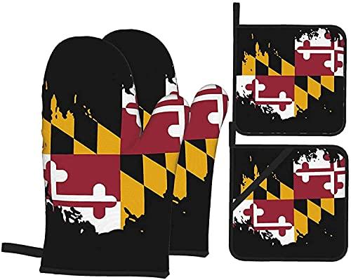 Maryland - Juego de guantes y soportes para ollas, resistentes al calor, guantes antideslizantes para horno de cocina para parrilla, cocinar, hornear, barbacoa, microondas