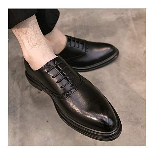 QINAG Los Hombres de Gran tamaño del Negocio Oxfords Zapatos Brogue for Piel de Microfibra Atan for Arriba Punta Estrecha del Extremo del ala Burnished Estilo Encerado Cordones Gruesa Inferior
