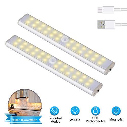 2Pcs Luz de Armario, Lacyie LED USB Recargable Automático Luces Sensor de Movimiento con Interruptor y Tira Magnética Barra,Luz Inalámbrica Nocturnas para Armario,Escalera,Cocina,Garaje y Gabinete