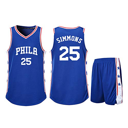Playera de baloncesto para niños de 2 piezas 76ers Ben Simmons 25#, niños de baloncesto entrenamiento deportivo sin mangas camiseta de malla de rendimiento atlético de baloncesto, Neutral, Hombre, color azul, tamaño XXXXXL