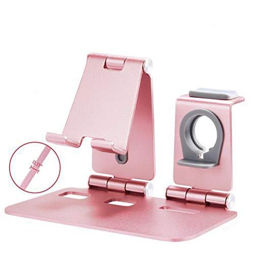 Estación de carga inalámbrica, aleación de aluminio, soporte de carga inalámbrico 3 en 1, compatible con Apple teléfono móvil Watch auricular integrado, color rosa