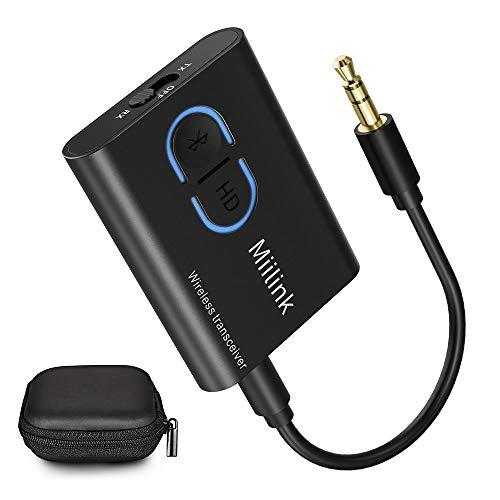 1mii Bluetooth Adapter 5.0 Transmitter Empfänger, 3-in-1 Bluetooth Sender Receiver, Dual-Verbindung mit APTX geringer Latenz, Bluetooth Audio Adapter für TV/PC/Stereoanlag (Black)