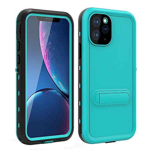 HYAIZLZ iPhone 11 Pro Max Waterproof Case with Kickstand Full Body Heavy Duty Protection with Built-in Screen Protector Back Cover for iPhone 11 Pro Max 6.5inch,Blue
