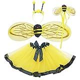 Danballto BumbleBee Costume Kids Girls Halloween Costume Bumble Bee Wings Dress Up (Yellow bee)