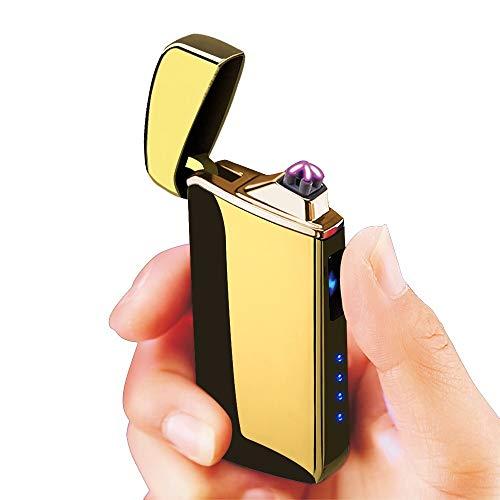 Warrior Tech - Mechero de plasma de doble arco sin llama, recargable por USB, color dorado