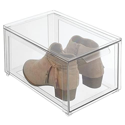 mDesign Caja de plástico transparente – Organizador de armarios apilable y rígido con cajón extraíble – Caja para guardar zapatos, accesorios y otros objetos – transparente