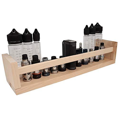 Wandregal Vape Shelf Display Holz Halter für Verdampfer, Atomizer E-Zigarette, 10x Plätze mit Gewinde Echtholz