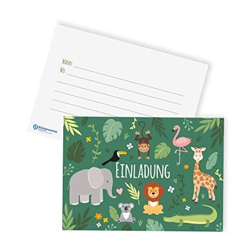 Ideenverlag 12x Dschungel / Zoo Einladungskarten zum Kindergeburtstag / plastikfrei / klimaneutraler Druck / Einladungen / Grußkarten / Geburtstag / Karten