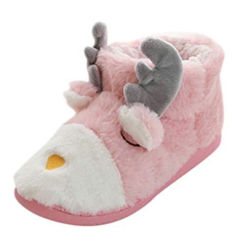 Realde Damen Warme Stiefeletten Booties Stiefel Weihnachten Kitz Cartoon rutschfest Warm Gefüttert Hausschuhe Haushalt Frühling Herbst Winterstiefelette Knöchelstiefel