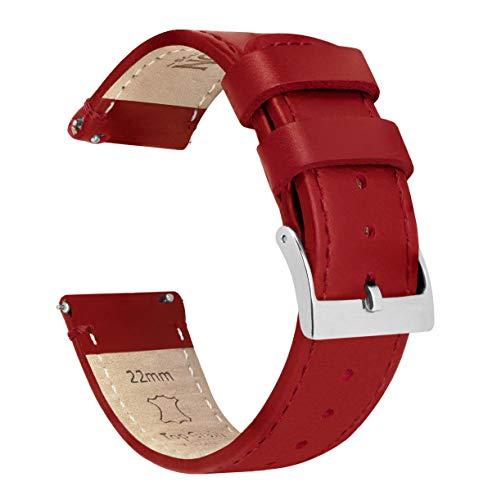 Correa de cuero de grano superior para reloj, de liberación rápida, de 16 mm, 18 mm, 19 mm, 20 mm, 21 mm, 22 mm, 23 mm o 24 mm de Barton, Cuero rojo carmesí y costuras, 16mm