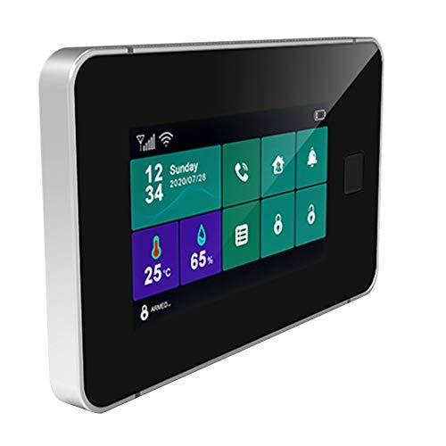 Fltaheroo Tuya WiFi Gsm Sistema de Alarma de Seguridad Alarma Antirrobo de Casa Inteligente InaláMbrica con Temperatura de Armado de Huellas Dactilares Enchufe de la UE