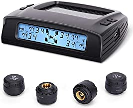 Tymate Tire Pressure Monitoring System-Solar Charge, 5 Alarm Modes, Auto Backlight ? Smart LCD Display, Auto Sleep Mode, with 4 External Tpms Sensor (0-87 PSI)