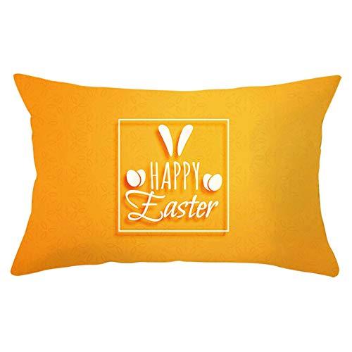 Bishilin Fundas De Almohadas Poliéster 12x20 Inch Happy Easter Patrón Rectángulo Funda de cojín de Tiro Funda de Almohada Lavable para sofá Cama Estilo 20 Naranja (Solo Portada, sin Inserto)