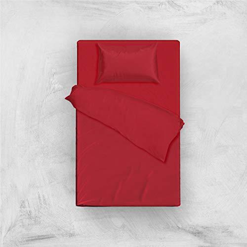 L'ANTICO ARCOLAIO Set Completo Letto Lenzuola 100% Cotone Tinta Unita (Rosso, Una Piazza E Mezza)