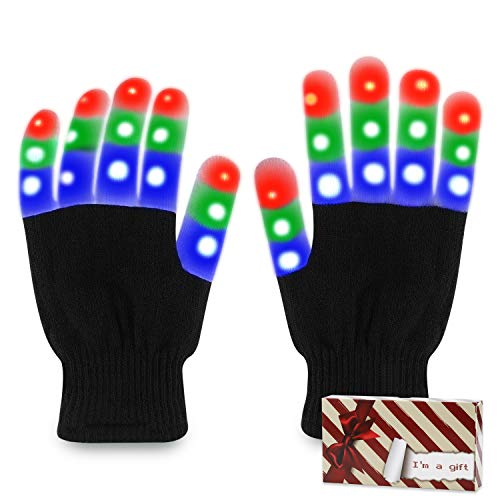 TOBEHIGHER LED Gloves for Adults - Light Up Rave Gloves with 3 Colors 6 Modes, Flashing LED Gloves for Christmas Party Festival Best Gift, Extra 4 Batteries, Vintage Red Gift Box