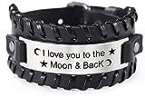 VASSAGO Pulsera de cuero ajustable con texto 'I Love You to The Moon and Back', de acero inoxidable, con palabras inspiradoras grabadas, regalo para mujeres y hombres, color negro