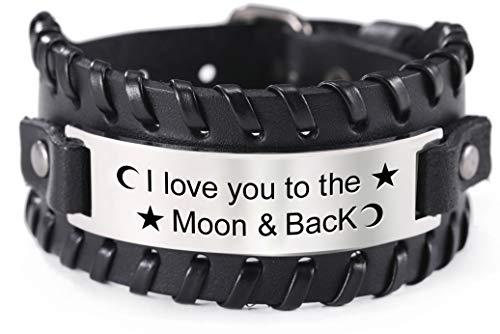 VASSAGO Pulsera de cuero ajustable con texto 'I Love You to The Moon and Back', de acero inoxidable, con inscripción en inglés 'I Love You to The Moon and Back', para mujeres y hombres