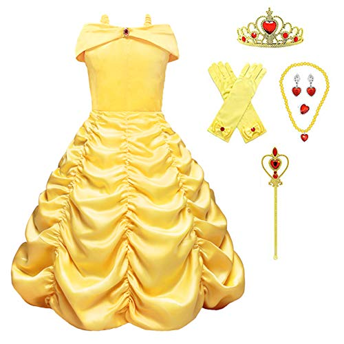 Almce Princess Belle Dress Costume Layered Off Shoulder Birthday Party Fancy Dresses