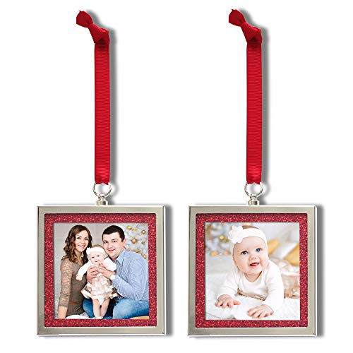 MIMOSA MOMENTS Bling Picture Frame Ornament for Christmas Tree, 3x3 Photo (Set of 2 - Red Glitter)