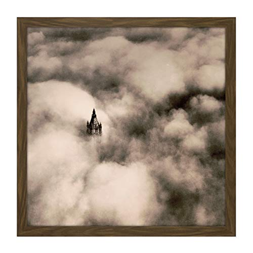 New York Woolworth Building Above Clouds Aerial Vintage Photo Square Wooden Framed Wall Art Print Picture 16X16 Inch Wolken Jahrgang Fotografieren Holz Wand Bild