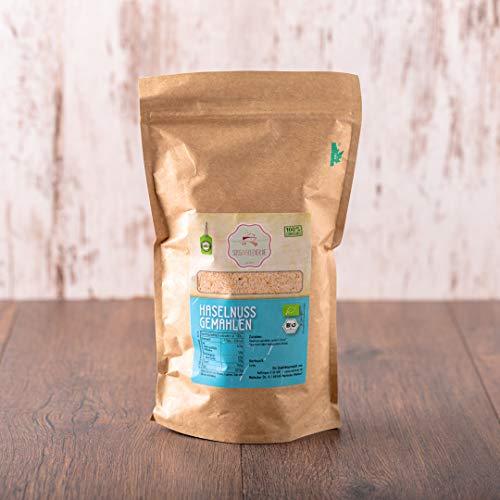 süssundclever.de® Bio Haselnussmehl   nicht entölt   unbehandelt   500 g   in ökologisch-nachhaltiger Bio-Verpackung   gemahlene Haselnusskerne