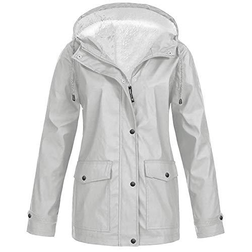 Pianshanzi Chaqueta funcional para mujer, abrigo de manga larga, abrigo, cremallera exterior, trench con capucha, forro de piel, chaqueta gruesa de plumón, con bolsillos, gris, XL