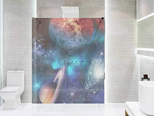 Transparentes Vinyl für Duschwände und Badewannen Planeten | Mehrere Maße 185x60cm | Beständiger und leicht aufzutragender Klebstoff Dekorativer Aufkleber Dekoratives Design