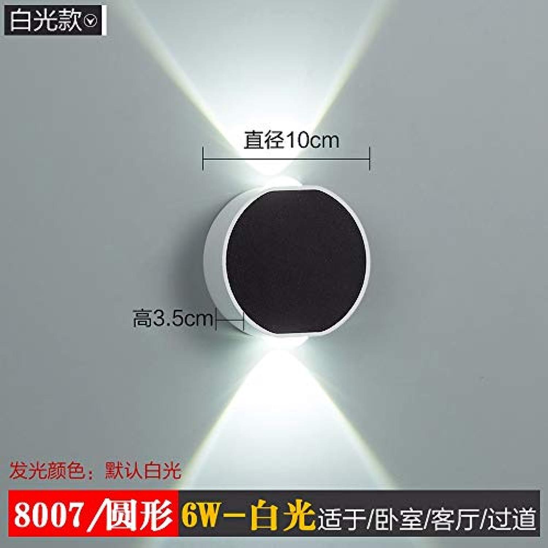 Fangfang908 Wandleuchte Led Farbe Lichteffektlicht Einfaches Hotel Indoor Wohnzimmer Schlafzimmer Flur Gang Licht Rund 6W-Weies Licht, 10Cm  3,5Cm