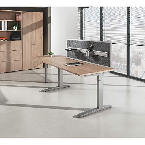 EUROKRAFTpro ANNY - Schreibtisch mit C-Fußgestell nierenförmig, Breite 2000 mm lichtgrau
