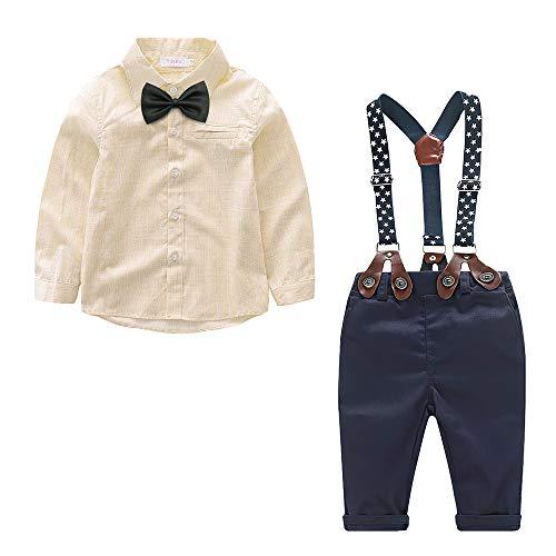 Yilaku Baby Jungen Anzug Gentleman Hosenträger Hosen & Hemd mit Krawatte Bekleidung Set 4 Teiliges Baby Set Jungen Festliche Kleidung 92(Beige, 12-18 Monate)