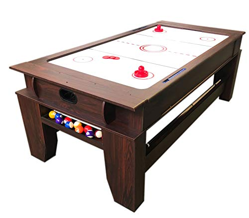 simba usa 2 in 1-7Ft Red Pool Table Billiard Become an Air Hockey Table with Accessories