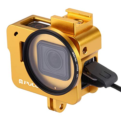 Camera bescherming kooi Huisvesting Shell CNC Aluminium beschermende kooi met 52mm UV Lens for GoPro HERO (2018) / 7 Black / 6/5 (zwart) Voor Actie Camera (Kleur : Goud)